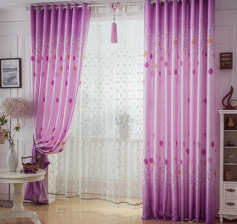 Pink bedroom curtain design - Long Pink Floor To Ceiling Windows 2 7 Meters High Dandelion Pervious To Light The