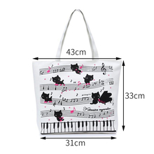 Black Kittens Making Music Notes With Piano Canvas Shoulder Bag