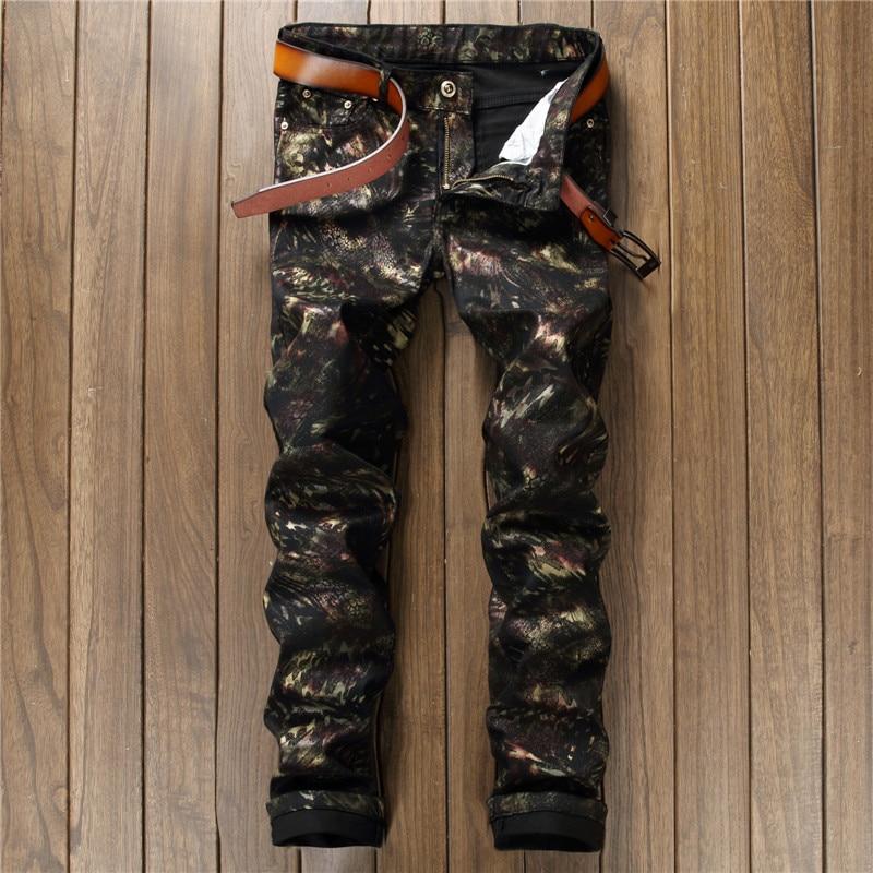 New arrival cool famous jeans for men printed jeans skinny slim fit black graffiti trousers moto denim pants pattern man stretch