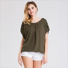 Ladies New Summer Chiffon Blouse 2016 Women Printed Short Sleeve Blouse White Striped Blouses Shirts Female Office Shirt
