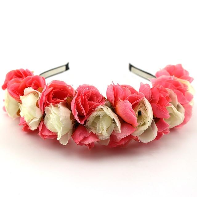 Pink White Flower Garland Boho Floral Headband Headwear Garland