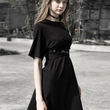 Панк Rave women's Goth круглый воротник повседневное черное платье с поясом PQ-577LQ