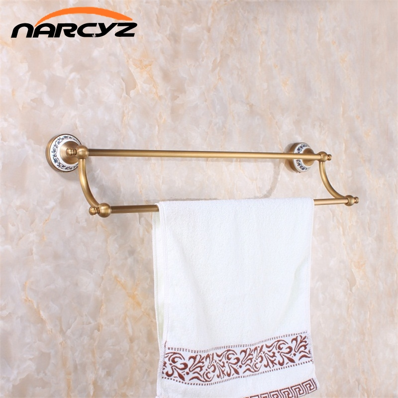 Towel Bars (24,60cm)Double Towel Bar With Ceramic Antique Bronze Finish Towel Holder Towel Rack Bathroom Accessories 9065K free postage oil rubbed bronze tooth brush holder double ceramic cups holder