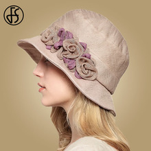 FS Flower Sun Hat For Women Summer Cotton Beach Hats Foldable Orange Beige Wide Brim Sunscreen Visor Cap