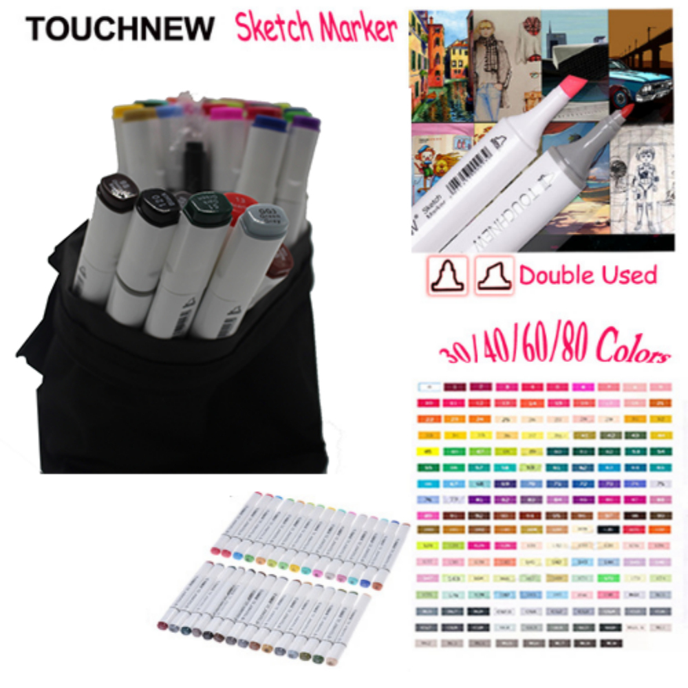 Touchnew 30/40/60/80 Colors Artist Design Double Head Marker Set, Quality Sketch Markers For School Drawing Art Marker Pen touchnew art marker 168 colors alcoholic marker artist sketch marker best for drawing manga design art supplies