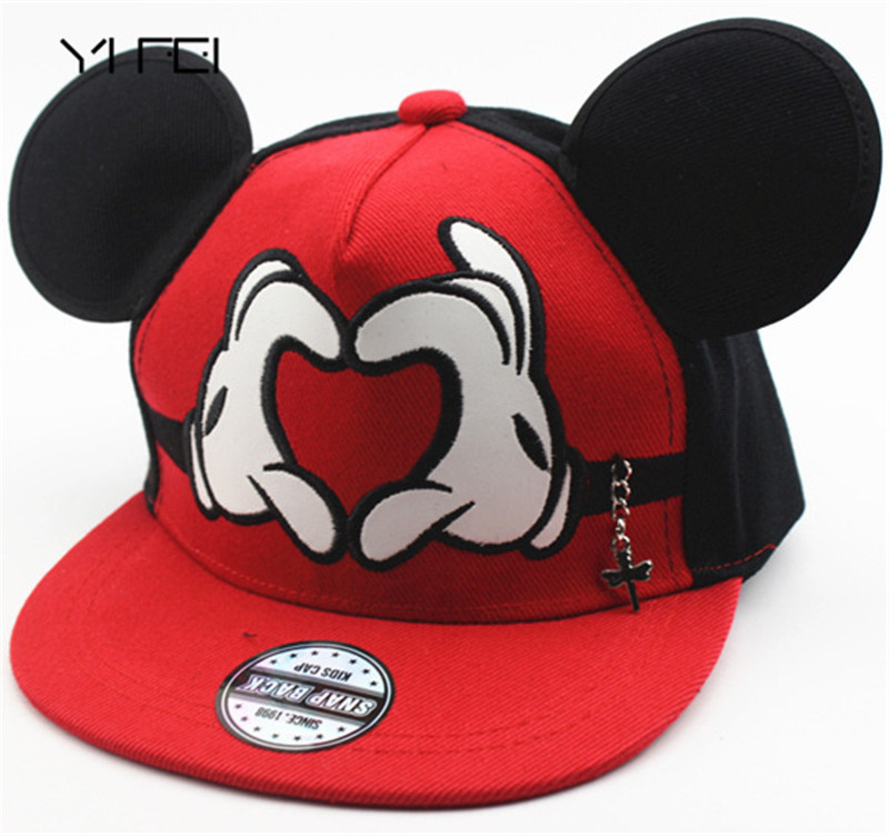 YIFEI 2017 New cartoon cute Mickey baseball cap big ear Mouse Snapback Hats children Kids brand Hip-hop cap Bone gorra Chapeau new high quality warm winter baseball cap men brand snapback black solid bone baseball mens winter hats ear flaps free sipping