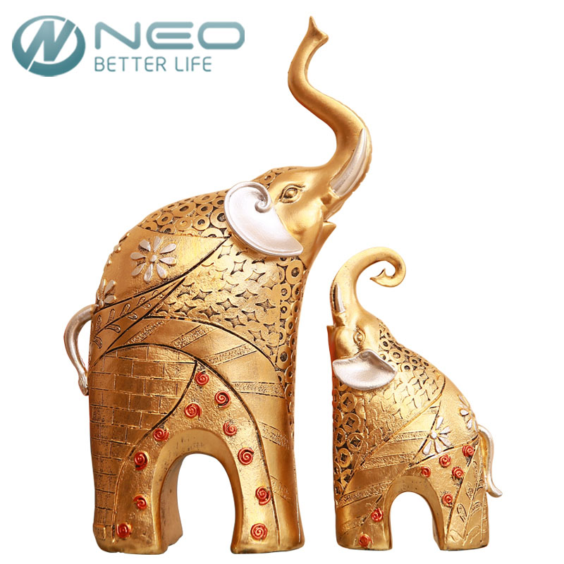 NEO 2 Pcs/Pair Vintage Golden Resin Mother&Child Elephant Statue Animal Figurine Sculpture Garden Home Wedding Decor Gift