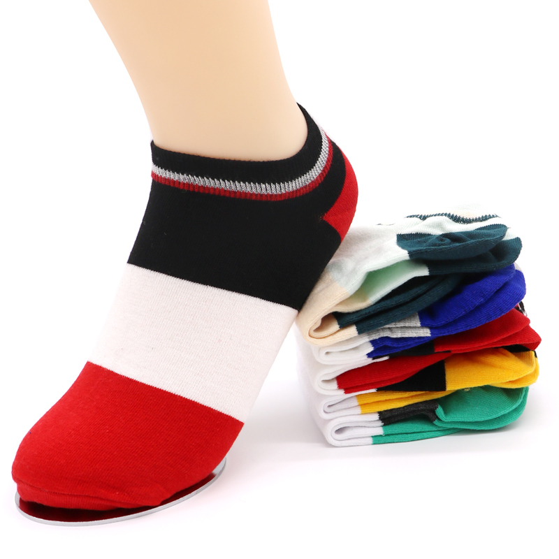 3Pair Colorful Striped Ankle Short Men Socks Summer Style Fashion Casual Socks Male Low Cut No Show Boat Socks Chaussette Homme