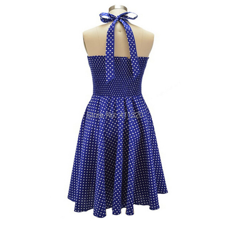 V215 2015 Womens Halter Backless Polka Dots 1940s 50s 60s Vintage Retro Style Rockabilly Pin up Swing Summer Casual Party Dresses (6).jpg