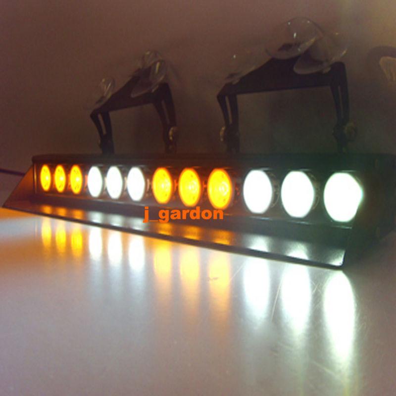 12 LED 3W LED Light Windshield Emergency Beacon LightBar Hazard Strobe Warning LightBar LED Amber/White/Amber/White Light Bar