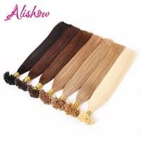 Alishow 14 26 100g Pre Bonded Nail U Tip Keratin Fusion Made Remy Human Hair Straight