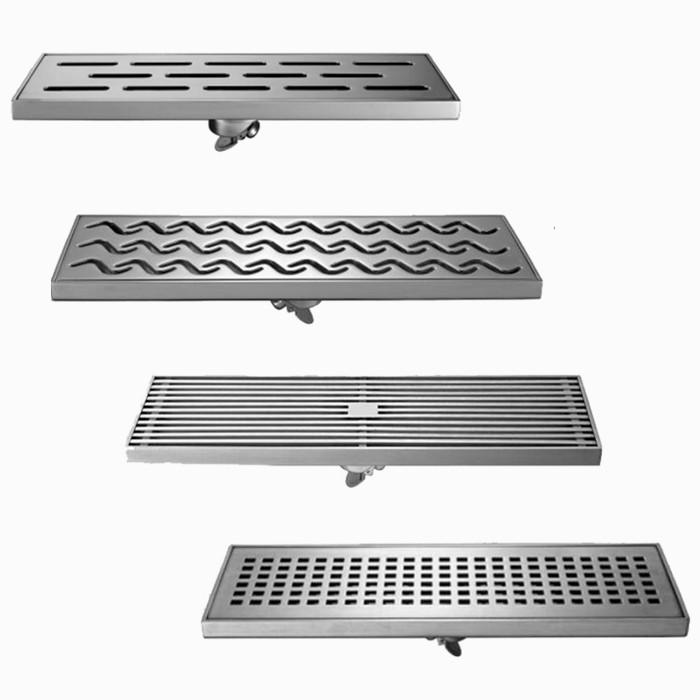 Free shipping 30 10cm High Flow Stainless Steel Linear Long Shower Grate Channel Tile Bathroom Floor