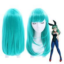 Парик Dragon Ball Bulma средней длины прямые челки зеленый парик для косплея парики из натуральных волос для вечеринки