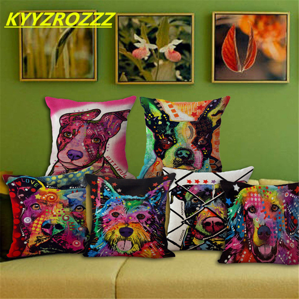 Lovely Dog Cushion Cover Creative Animal Printed Pillow Case Pug Doodle Chihuahua Yorkie Boston Terrier Schnauzer ...
