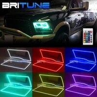 Multi Color RGB SMD LED Angel Eyes DRL Halo Rings Kit For Dodge Ram Sport Quad Trucks 2009 2016 Headlight Retrofit IR Controller