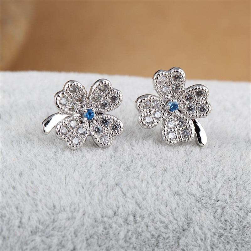 RONGQING Fashion Lucky Zircon Clover Ականջօղեր - Նորաձև զարդեր - Լուսանկար 1