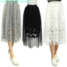New 2017 Lace Midi Floral Tulle Skirts Womens High Elastic Waist Mesh Pleated Skirt Summer Party Tutu Skirt Women One Size