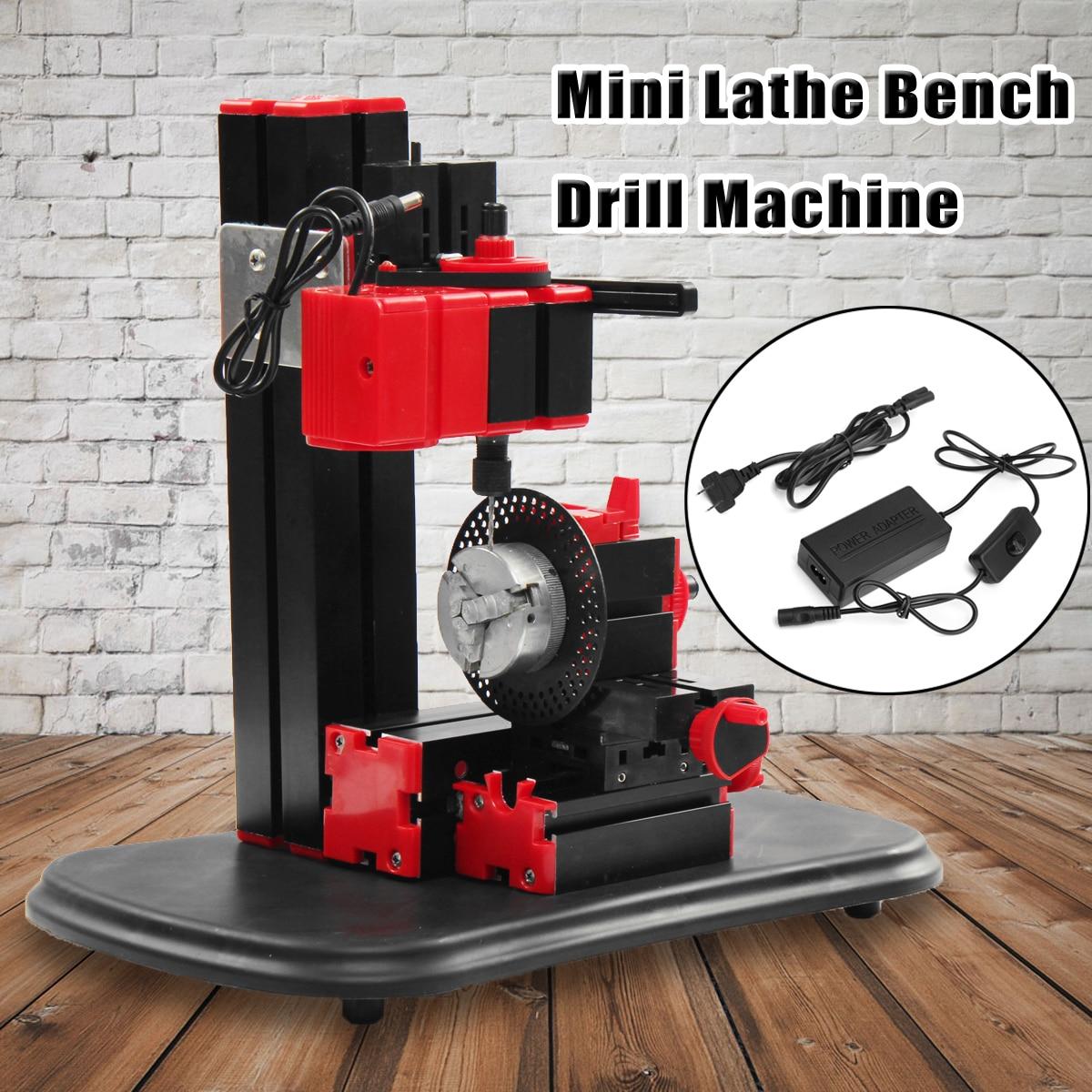110V-240V Mini Lathe Bench Drill Machine DIY Electric Drill Woodwork Model Making Tool Lathe Milling Machine Kit