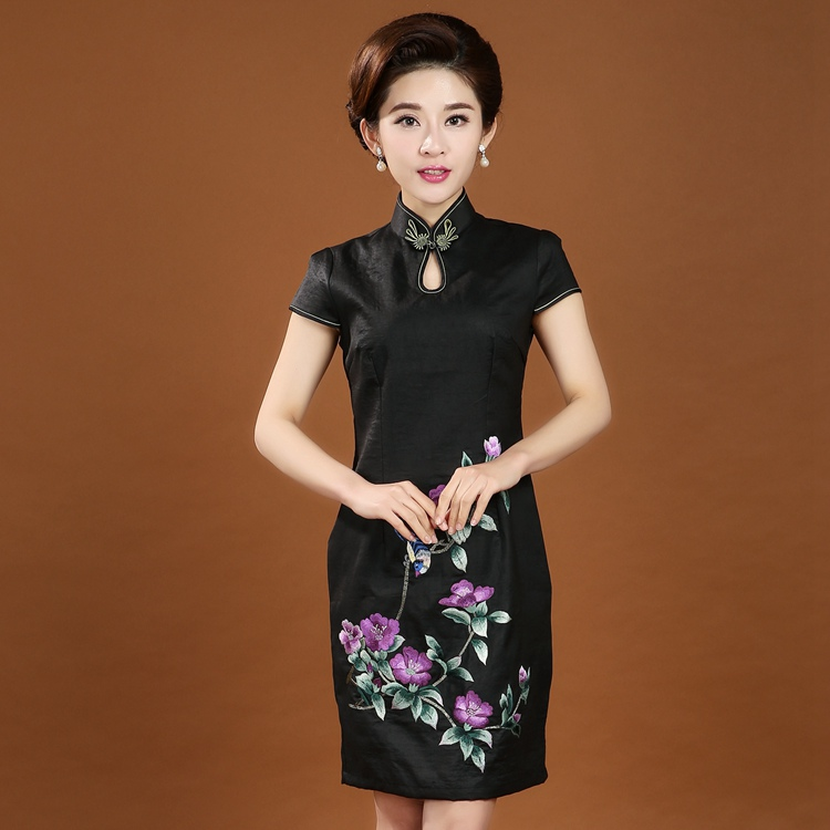 High Quality Embroidery Flower 100% Silk Chinese Dress Women's Traditional Summer Cheongsam Qipao M L XL XXL XXXL 4XL 7080