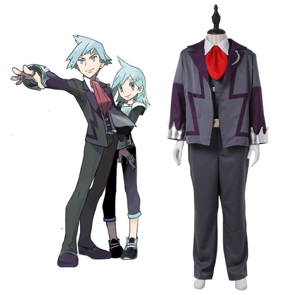 Hot Game Pocket Monster Steven Stone Cosplay Costume for men adult Halloween Costume Suits uniforms full set outfits custom made