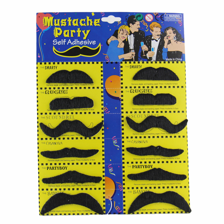 12Pcs Creative Funny Fake Mustache Pirate Party Halloween Cosplay costume Moustache Fake Beard Whisker For Kids Adult Black(China)