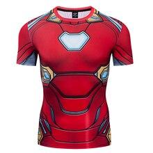 Mens T-shirt 3D Printing t shirt  Superhero Iron man Tee Tights Compression Short Sleeve
