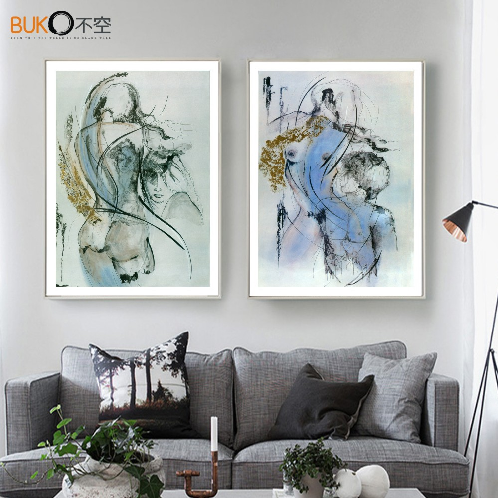 Decorative painting art print painting female <font><b>nudes</b></font> waterproof canvas impressionist style sexy body line pattern <font><b>blue</b></font> abstract <font><b>m</b></font>