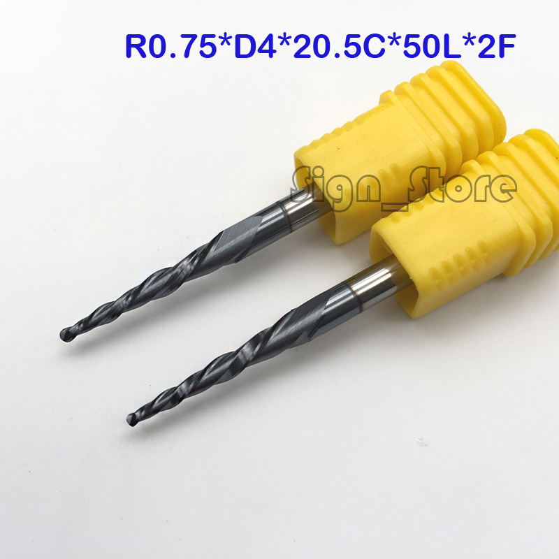 2* R0.75*D4*20.5*50L*2F HRC55 Tungsten solid carbide Taper Ball Nose End Mill cone milling cutter cnc router bit wood knife tool hrc55 r0 2 r0 5 r0 75 r1 0 r0 72 taper ball end carbide tungsten solid steel milling cutter alloy taper endmill