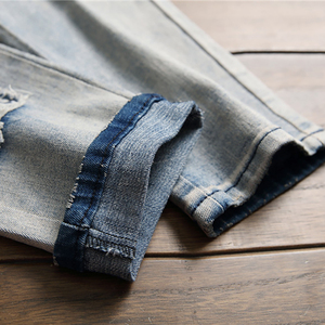 Image 5 - Мужские джинсы с вышитым карпом Sokotoo винтажные зауженные брюки с заплатками стрейчевые джинсовые штаны