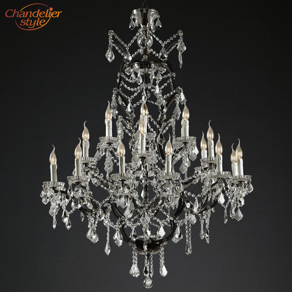 19th C Rococo Iron Crystal Round Chandelier Lighting Modern LED Chandeliers Pendant Lamp Hanging Light for