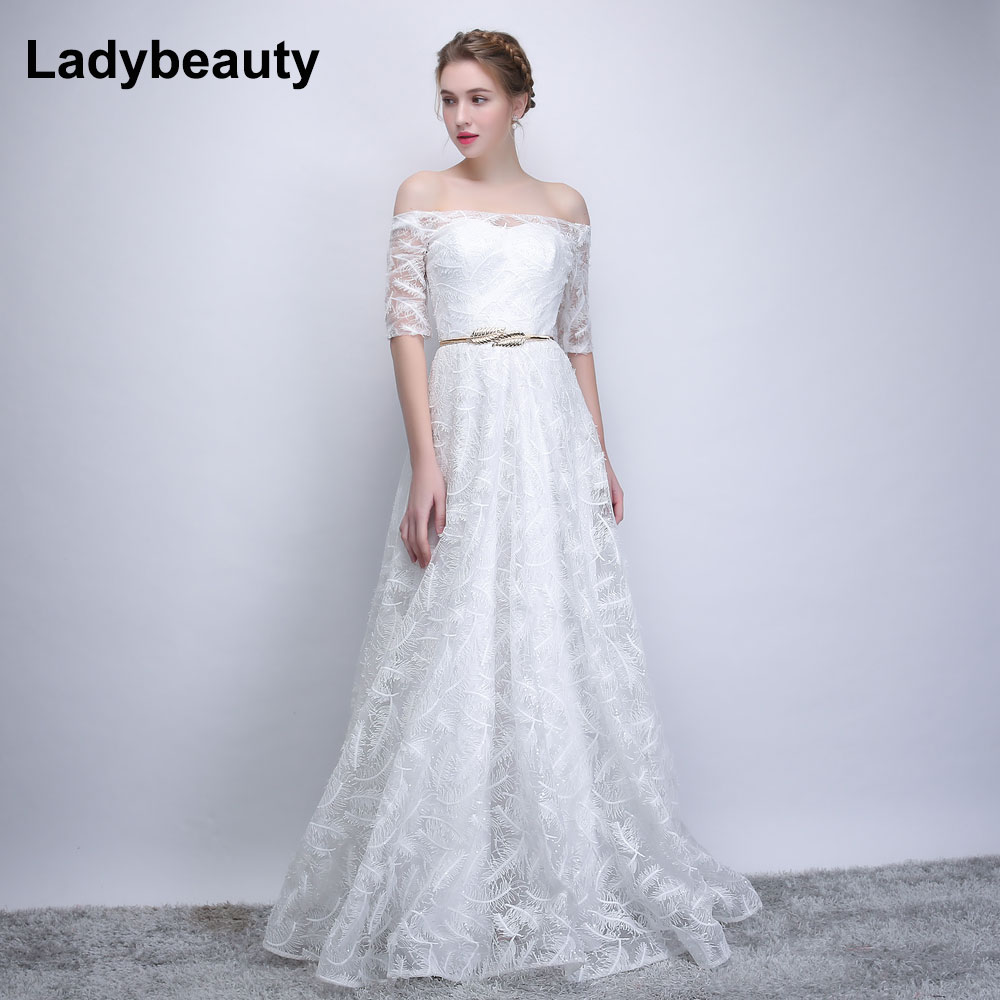 Simple And Elegant Wedding Dresses Boat Neck Three Quarter: Aliexpress.com : Buy 2018 New White Wedding Dress Boat