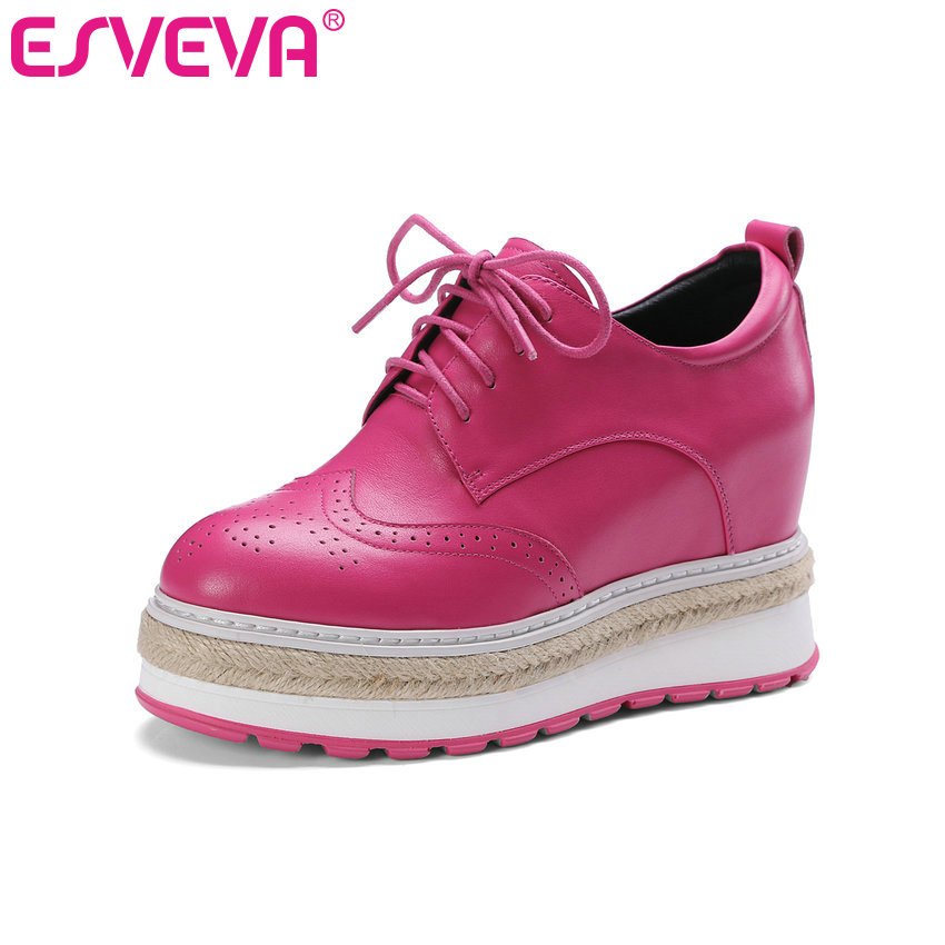 ФОТО ESVEVA 2017 Lace Up Real Leather Shoes New Women Pumps Spring Autumn Shoes Wedges High Heel Round Toe Platform Pumps Size 34-39