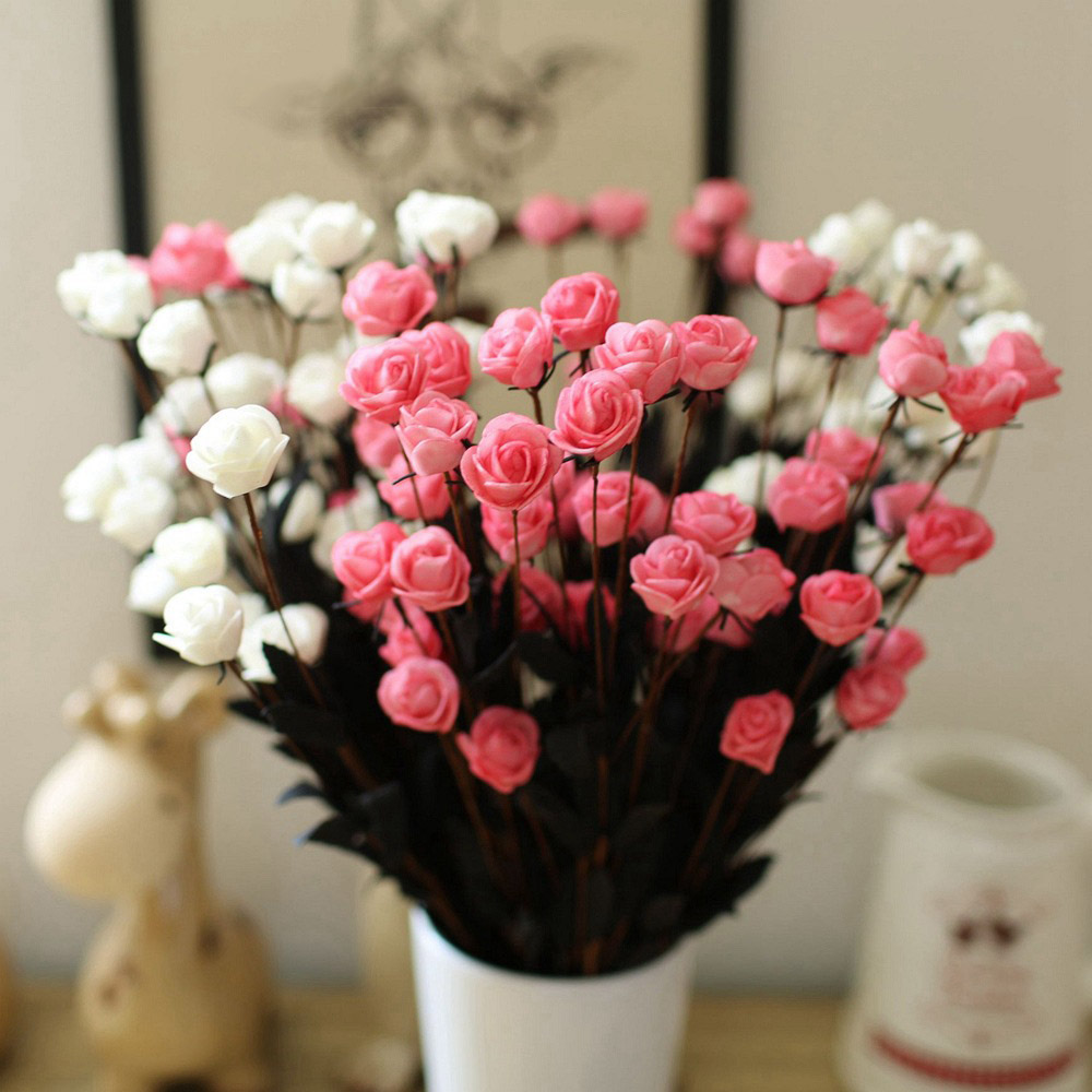 5pcs Pe Foam Simulation Camellia Romantic Rose Vintage Home Decor Artificial Flowers Plants Decorations For