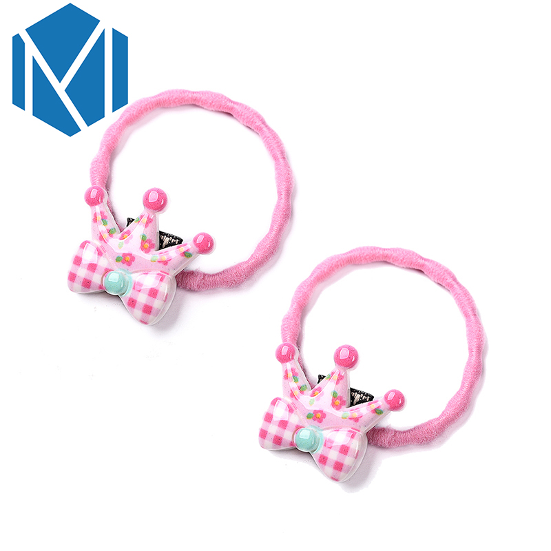 M MISM 2017 2pcs Smiling Face Wave Hair Elastic Bands For Kids Flower Scrunchy Crown Hair Accessories Bow-Knot Gum For Hair New m mism new arrival korean style girls hair elastics big bow dot flora ponytail rubber hair rope hair accessories scrunchy women