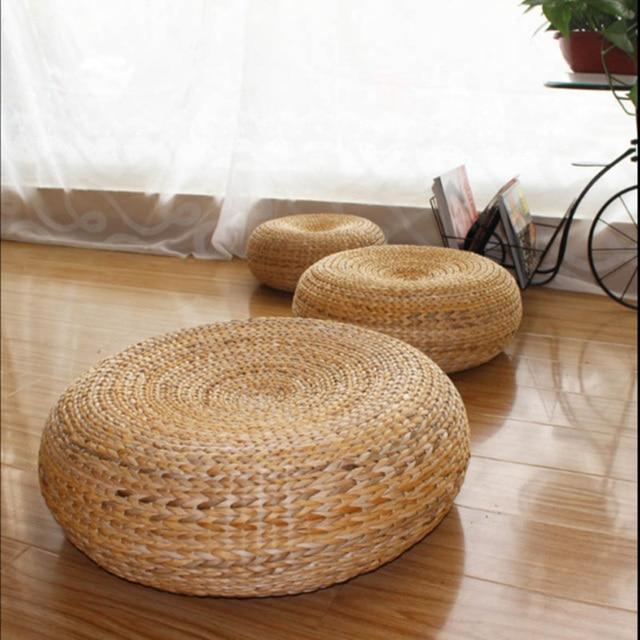 50 20cm Yoga Mat Meditation Cushions Rattan Ottoman Stool Traditional Natural Sofa