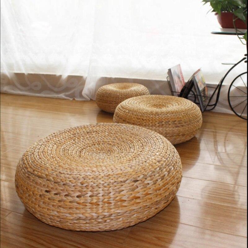 Tapis de Yoga 50*20 cm, coussins de méditation tabouret en rotin pouf canapé en rotin naturel traditionnel, meubles en rotin, tabourets en osier