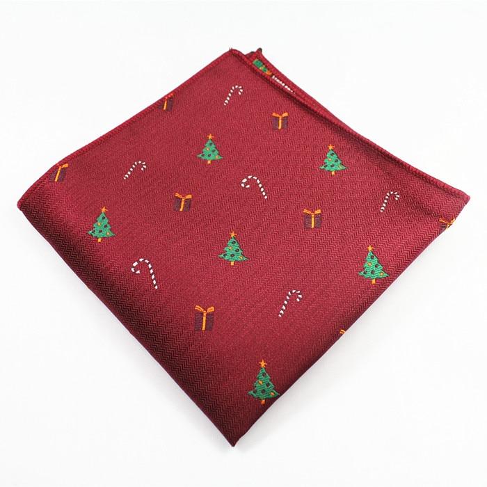 RBOCOTT Men's Novelty Christmas Pocket Squares Red Green Black Blue Colors Handkerchiefs 22cm*22cm Hanky For Men Business Party