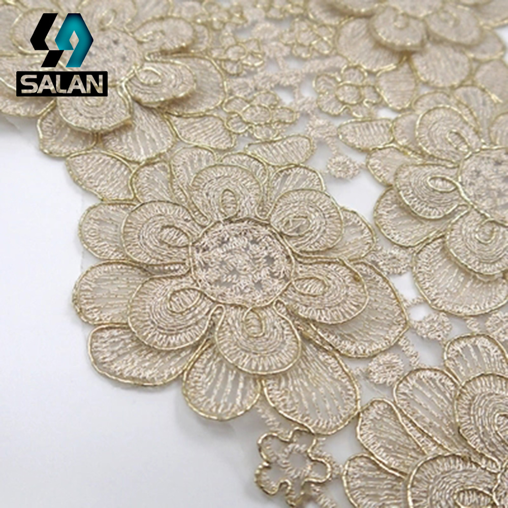 Round neck hollow decorative collar flowers mesh embroidery polyester silk corsage water soluble lace fake DIY clothing accessor