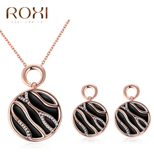 2017 ROXI Jewelry Set Charms Personality drops of oil zebra pattern Long Necklace/Stud Earrings for Mother's Gift Jewellery