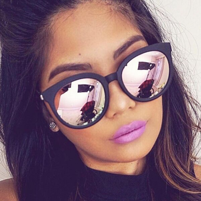 Pink Sunglasses Mirror Oculos Square Coating Cat-Eye Woman Shades Women Fashion Brand