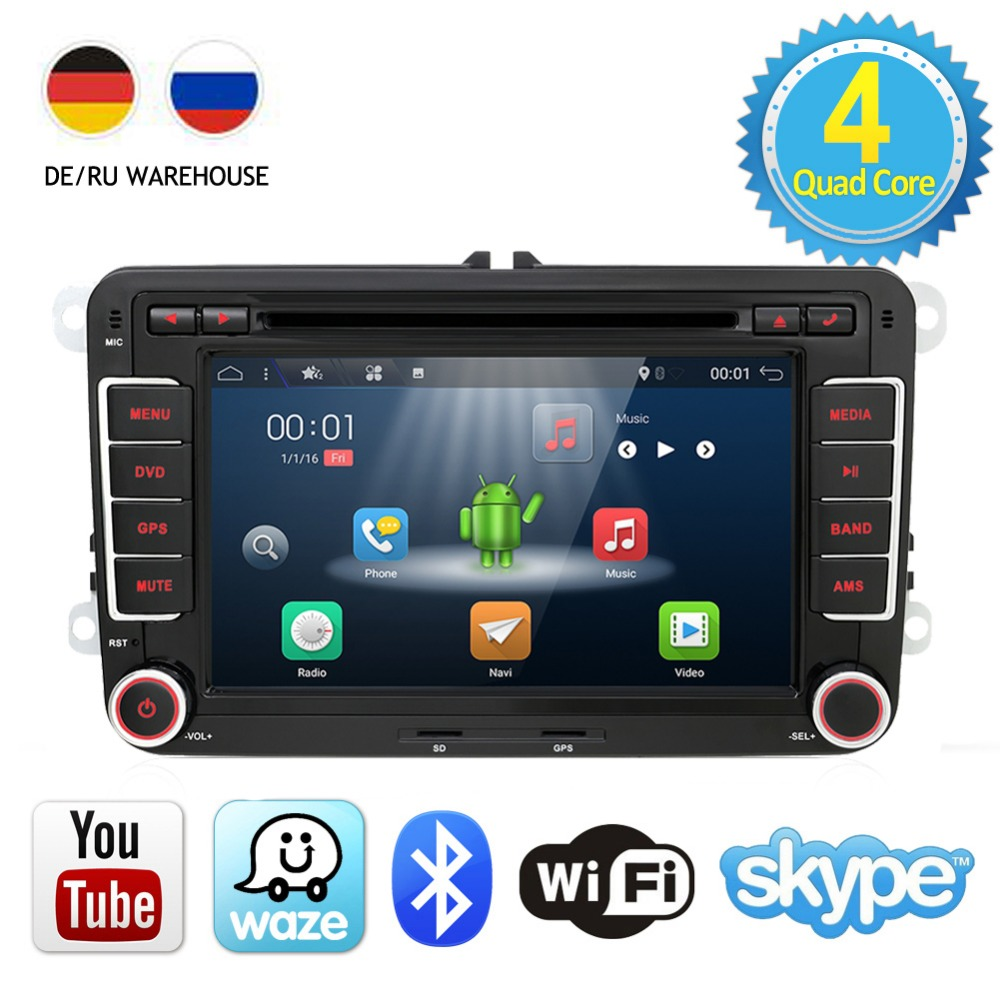 2 dua din Aux gps Quad 4 Core android 7.1 kereta dvd player TV Untuk VW Skoda POLO GOLF 5 6 PASSAT CC JETTA TIGUAN TOURAN Fabia Caddy