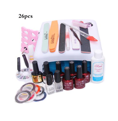 Nail Art Manicure 36W UV Lamp With 7.5ml Nail Gel Polish Base Gel Top Coat Polish for Practice Set UV Glue Nail Decoration Tool nail art manicure tools set uv lamp 10 bottle soak off gel nail base gel top coat polish nail art manicure sets