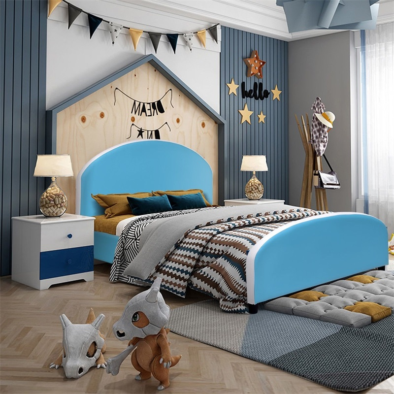 Kids Children PU Upholstered Platform Wooden Princess Bed High Quality Modern Sturdy Stable Kids Beds Furniture HW59102