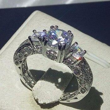 c3c90c17e833 Joyería de marca 14KT oro blanco relleno Rosa 5a zirconia birthstone oro  amarillo Cruz eterno anillos de boda para mujer talla 5-10