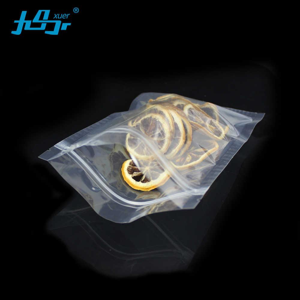 Wholesale 50Pcs Clear transparent Bag Self Seal Ziplock Packing Food Bags Resealable Packaging tea Bag flat Plastic zipper bags