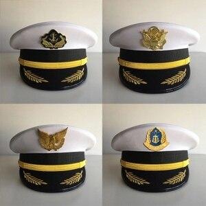 Моряк корабль белый моряк, капитан, шляпа, Униформа, вечерние, косплей, сценический перформер, плоский, темно-синий, военная Кепка Для Взросл...