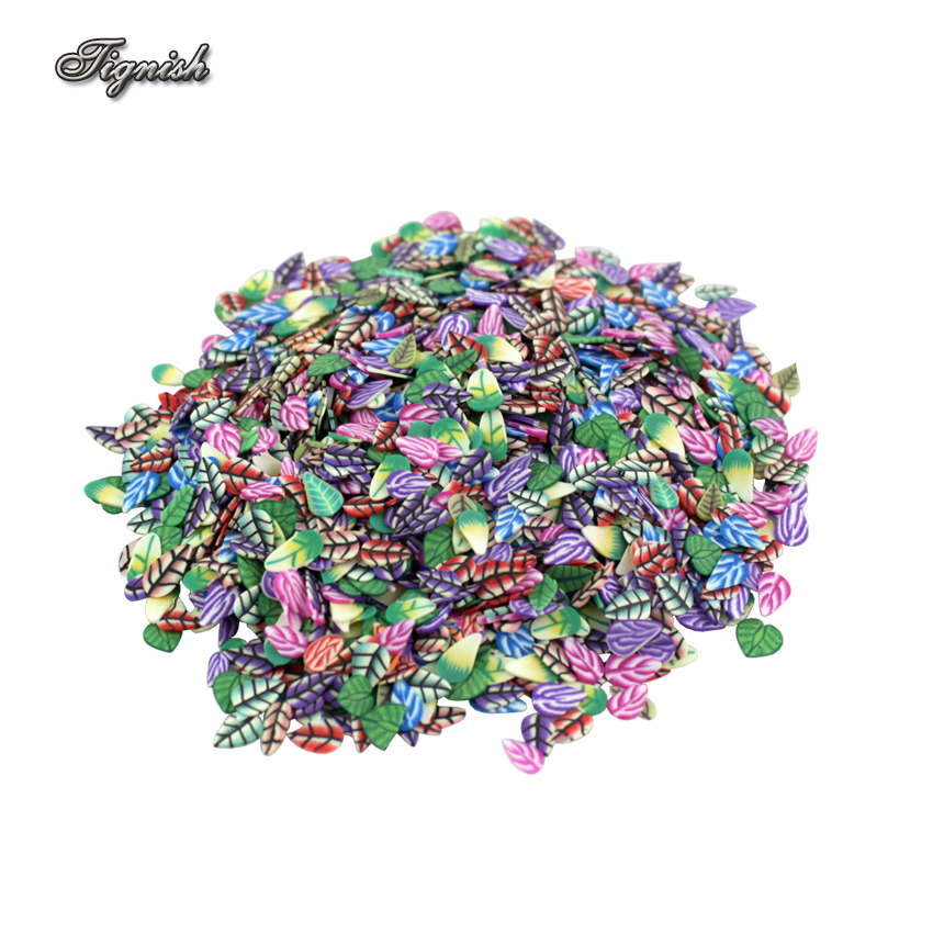 Tignish 1000Pcs/Pack Fimo Clay Fashion Feather Fruit Flowers Animals DIY 3D Nail Art Sticker Tip Rhinestone Decoration наклейки для ногтей brand new 1000 fimo 3d fimo 0410