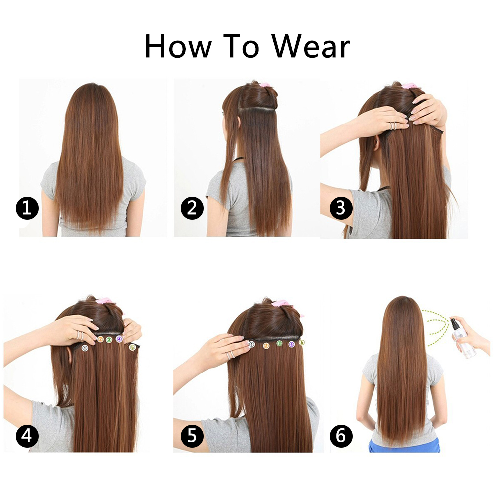 Xicks Straight 5 Clip In Hair Extension Synthetic 25 Colors Women