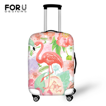 FORUDESIGNS Cartoon Luggage Cover Flower Flamingos Prints Pattern Travel Accessories Only Fashion Design Suitcase