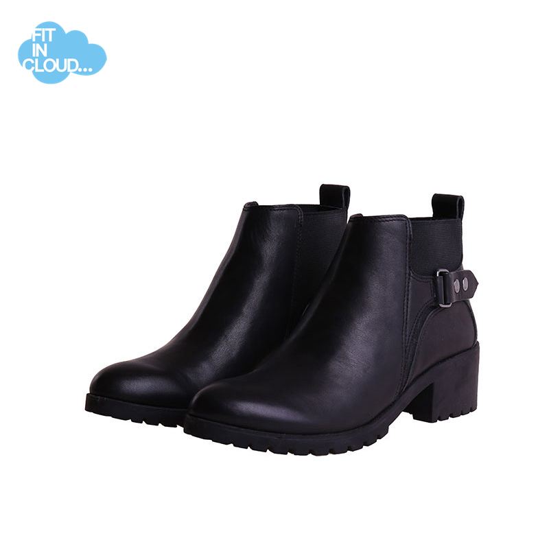 Fitincloud Women Genuine Cow Leather AnkleBuckle Star Med Basic Boots Shoes Female Winter Casual Basic Boots Shoes Brand New